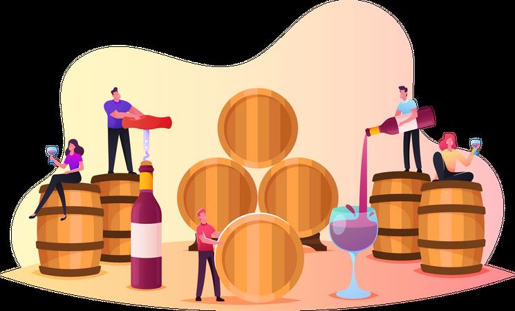 Characters Wine Degustation in wine vault Illustration