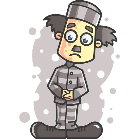 Charlie Chaplin as prisoner Illustration
