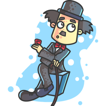Charlie Chaplin sitting withholding rose and walking stick on valentines day Illustration