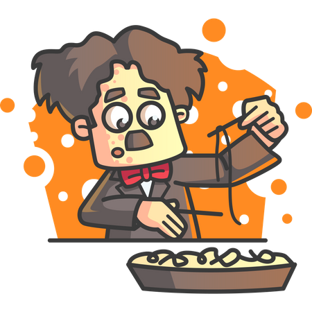 Charlie Chaplin trying to eat noodle with chopsticks Illustration