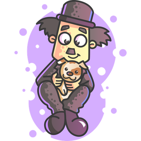 Charlie Chaplin with pet Illustration