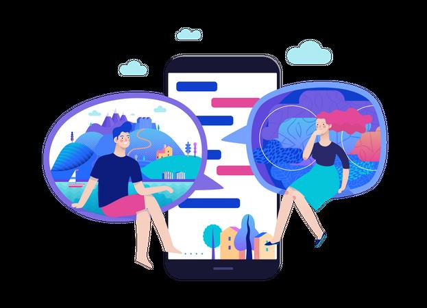 Chatting application - social media app Illustration