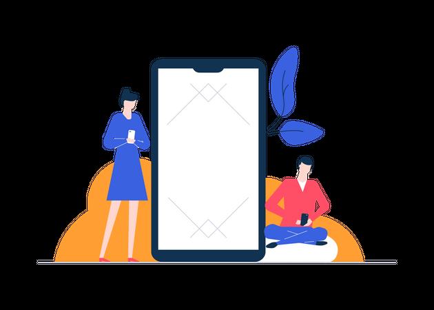 Chatting online Illustration