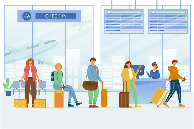 Check in airport zone Illustration