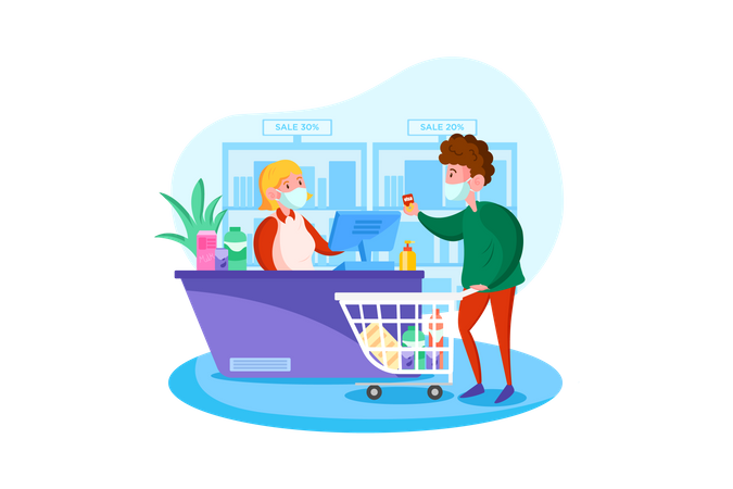 Checking body temperature at supermarket Illustration