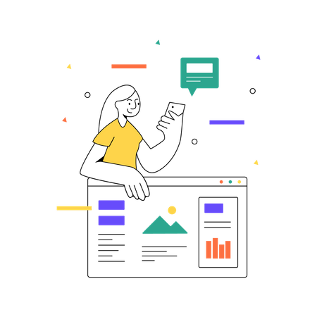 Checking business analytics Illustration