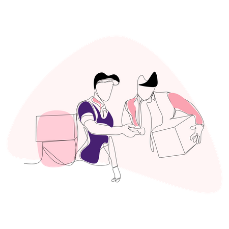Checking goods from courier Illustration