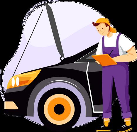 Checking maintenance list of car Illustration