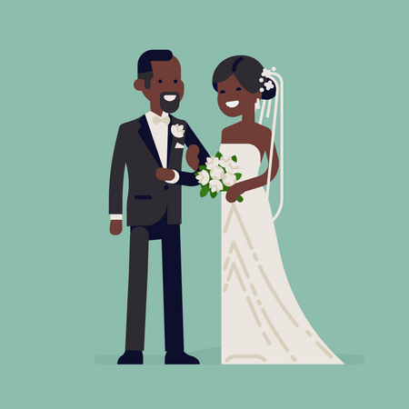 Cheerful African newlyweds standing together wearing wedding dresses Illustration