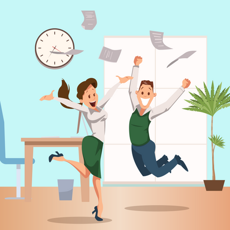 Cheerful business Coworkers celebrating business success and business paper floating on air Illustration