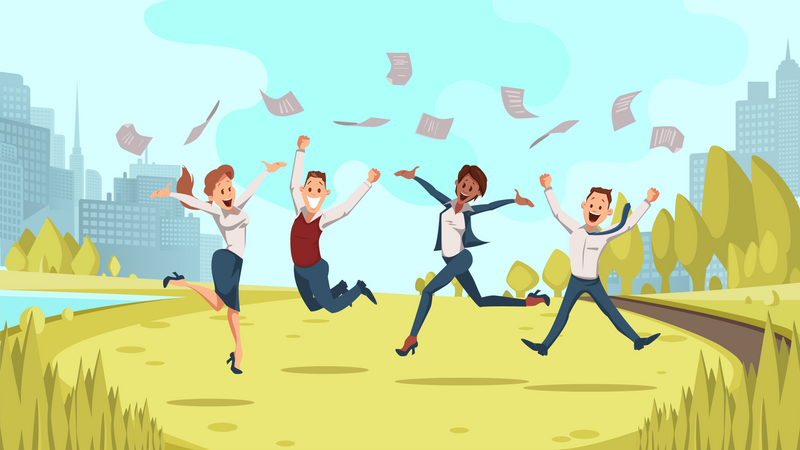 Cheerful business People celebrating business success Illustration