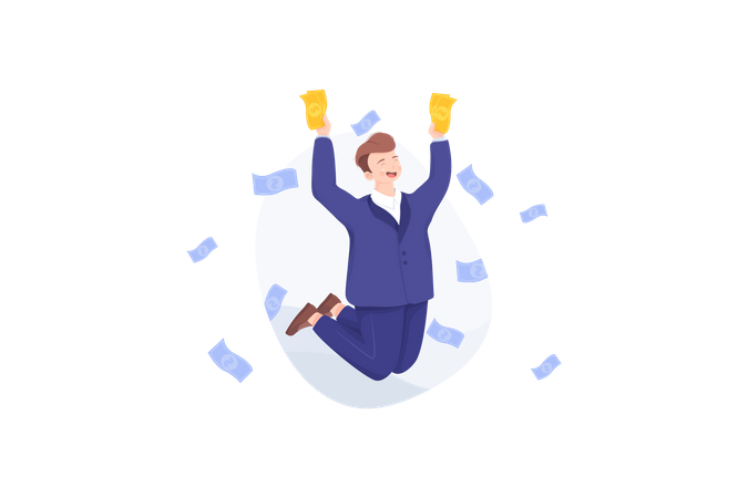 Cheerful businessperson with lots of money Illustration