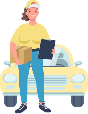 Cheerful female working in delivery service Illustration