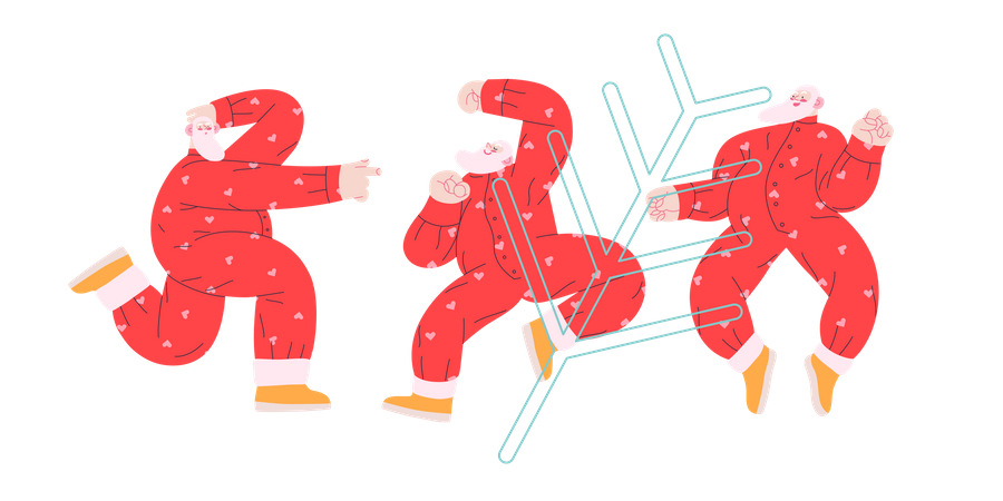 Cheerful Group of Santa Claus dancing in different ways Illustration