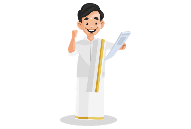 Cheerful Indian Malayali man holding the news paper in hand Illustration