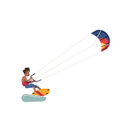 Cheerful kiteboarder pulled by a power kite Illustration