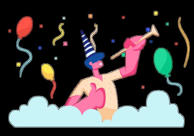 Cheerful Man in Birthday Party Illustration