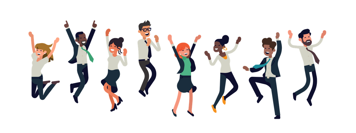 Cheerful multiracial business people celebrating together Illustration