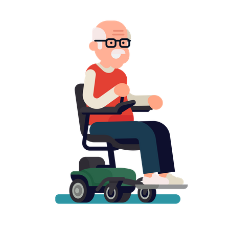 Cheerful old man riding an electric powered wheelchair Illustration
