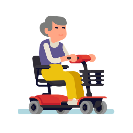 Cheerful old woman riding an electric powered wheelchair Illustration