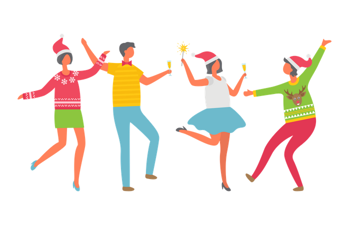 Cheerful People Celebrate Christmas Party Illustration