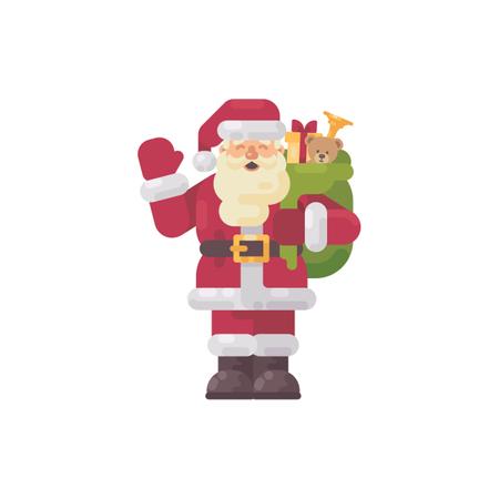 Cheerful Santa Claus Waving His Hand. Christmas Character Flat Illustration Illustration