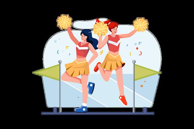 Cheerleader cheering up and dancing Illustration