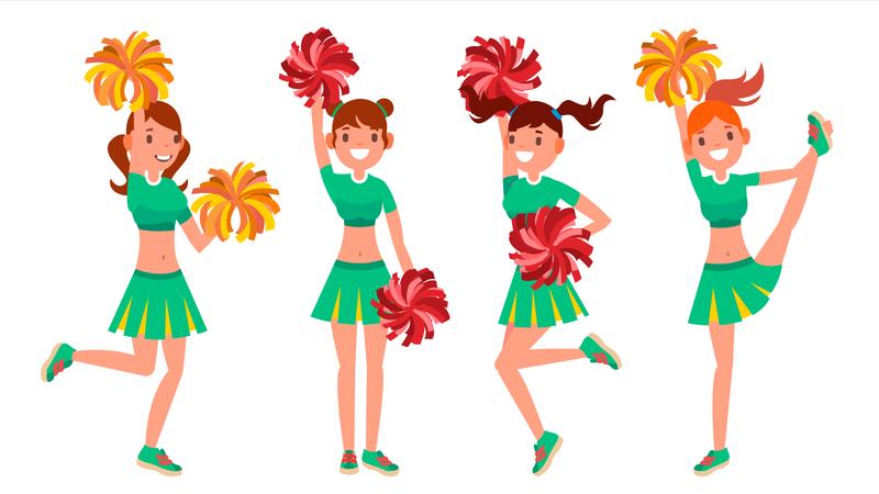 Cheerleader Girls Illustration