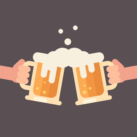 Cheers, two hands holding beer mugs Illustration