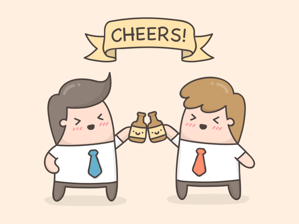 Cheers! Two hands holding two beer bottles Illustration