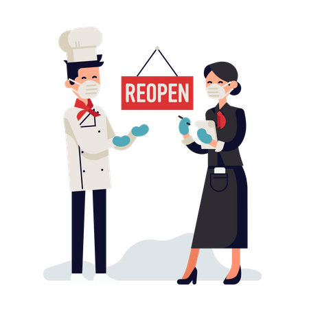 Chef and hostess welcoming their clients after reopening due to coronavirus pandemic Illustration