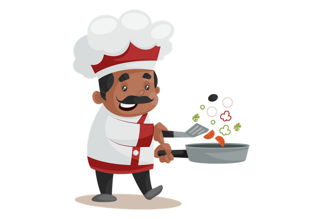Chef Cooking In Frying Pan Illustration