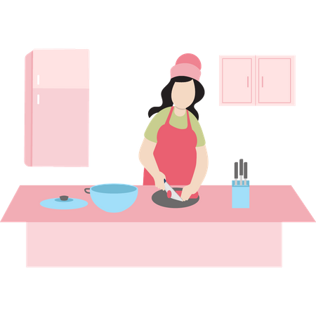 Chef cutting vegetables Illustration