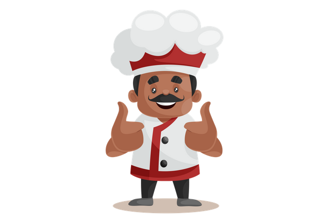 Chef doing thumbs up Hand gesture Illustration