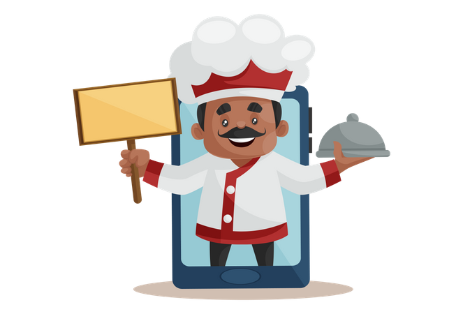 Chef holding board and recipe on mobile Screen as online order Concept Illustration