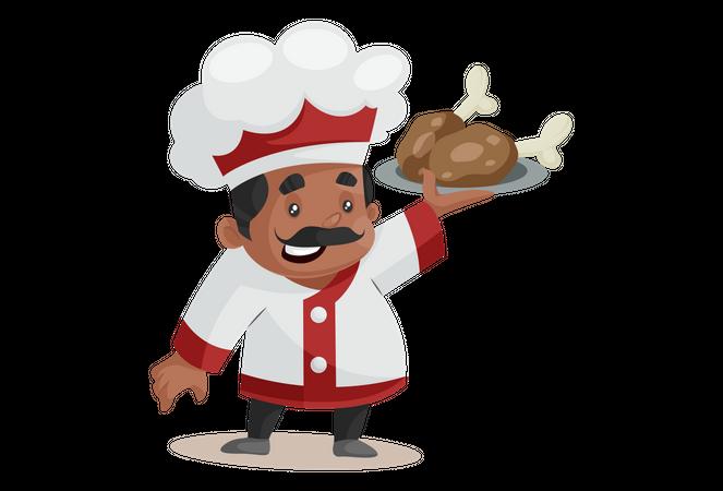 Chef Holding chicken leg piece Illustration