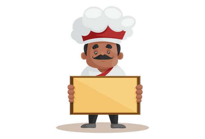 Chef holding Empty Board Illustration