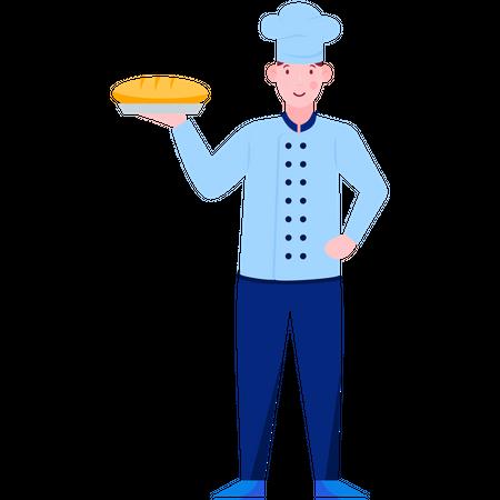 Chef Holding Loaf Illustration