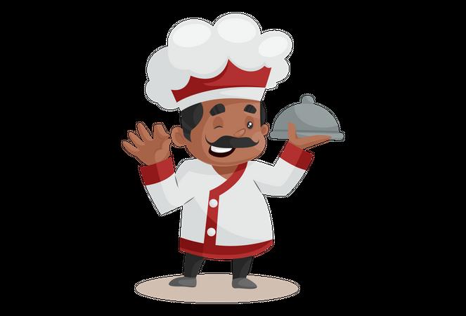 Chef holding New recipe Illustration