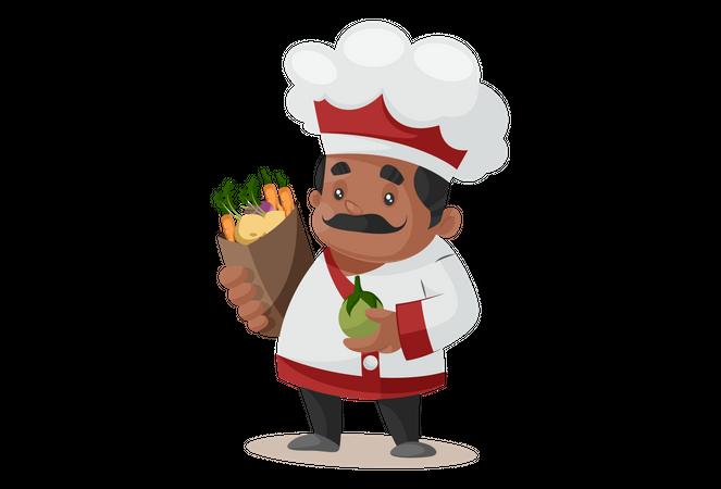 Chef holding vegetables bag Illustration