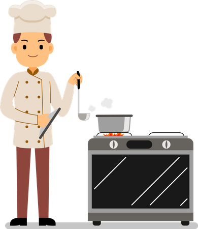 Chef in uniform cooking in a commercial kitchen Illustration