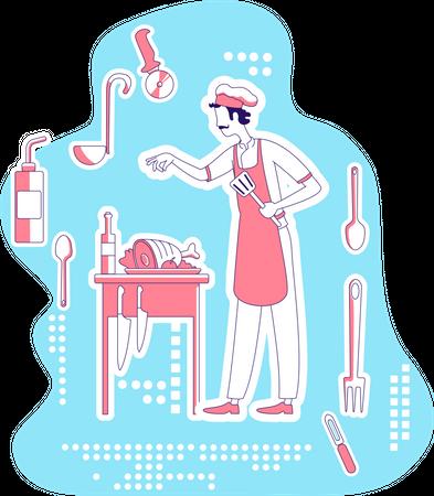 Chef making dish Illustration
