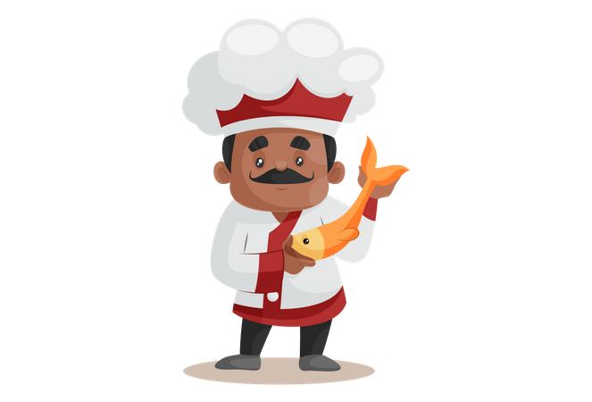 Chef Showing Fish For New Recipe Illustration