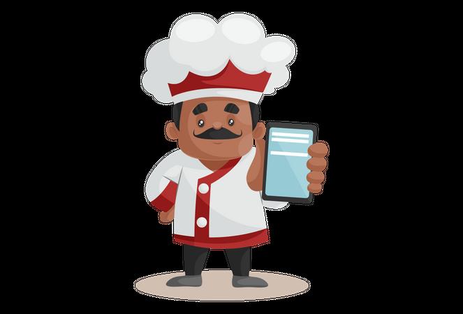 Chef showing Smartphone For Online Order Illustration
