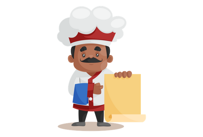 Chef standing with Recipe Menu Illustration