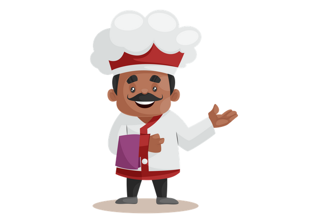 Chef Welcoming Guest In Restaurant Illustration