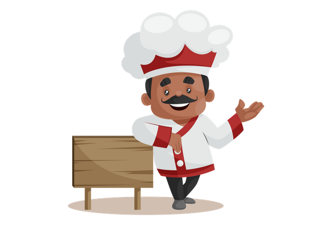 Chef With Empty Wooden Board Welcoming guest Illustration