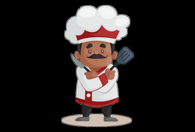 Chef with Kitchen Equipment Illustration