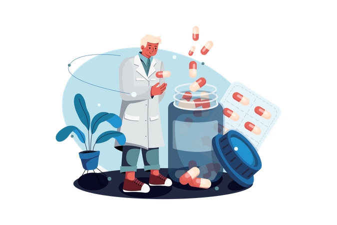 Chemist with pills bottle Illustration