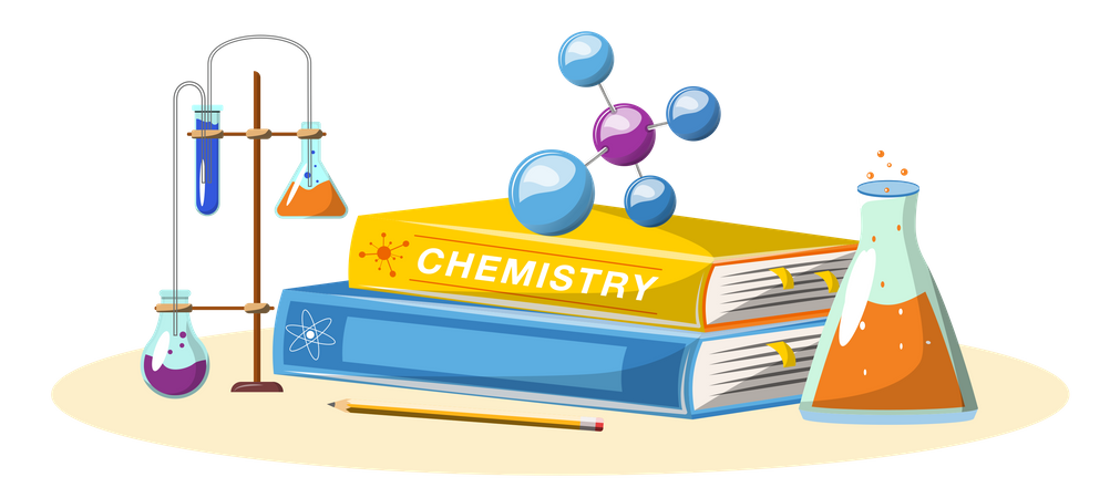 Chemistry book and equipment Illustration